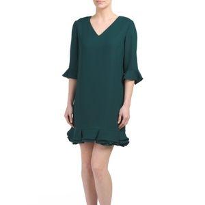 CeCe By Cynthia Steffe V-Neck Ruffle Dress Green